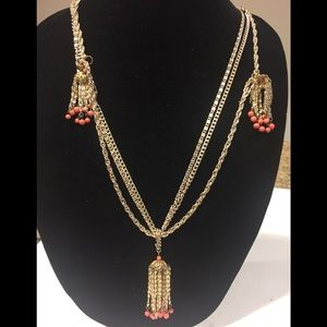 Necklace clip dangling earring set gold tone beads